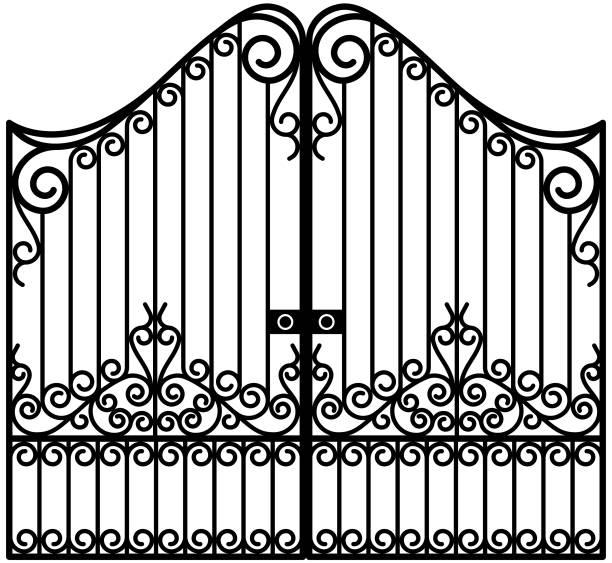 ilustrações de stock, clip art, desenhos animados e ícones de art nouveau iron gate vector - portão