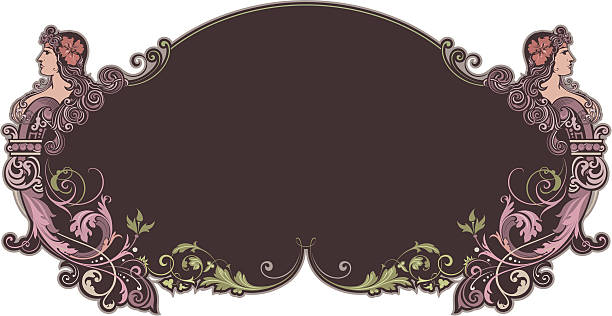 Art Nouveau Panel vector art illustration