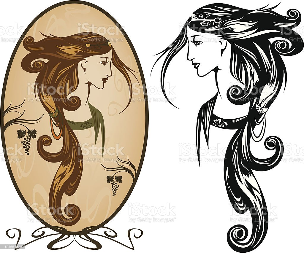 Art Nouveau portrait vector art illustration