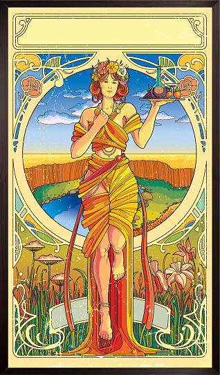 Art Nouveau Poster. modern style illustration