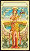 istock Art Nouveau Poster. modern style 1256678613