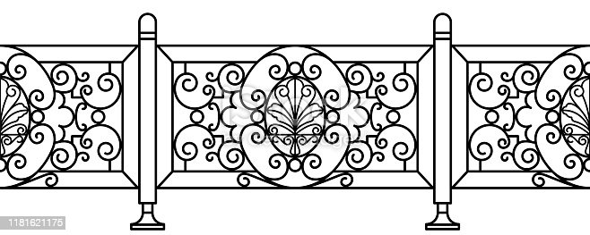 Seamless Art_Nouveau fence in vector