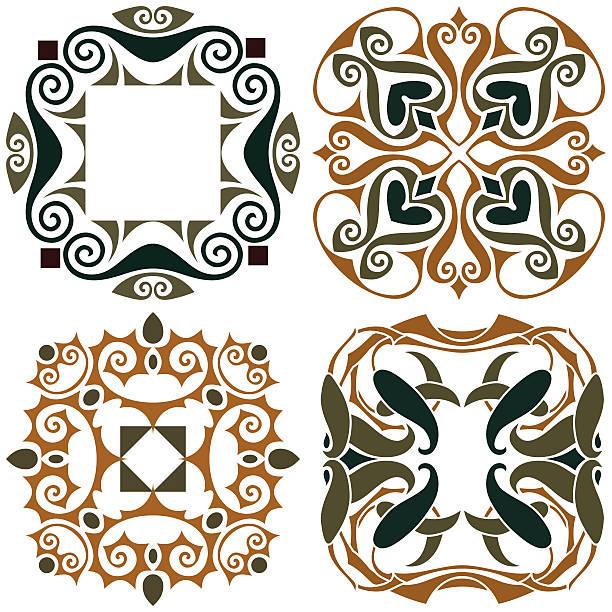 4 art nouveau wallpapers vector art illustration