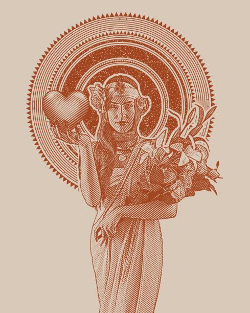 Art Nouveau Woman Holding Heart and Flowers vector art illustration