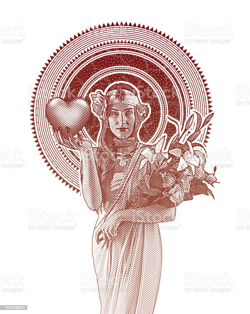 Art Nouveau Woman Holding Heart And Flowers Stock Vector Art More