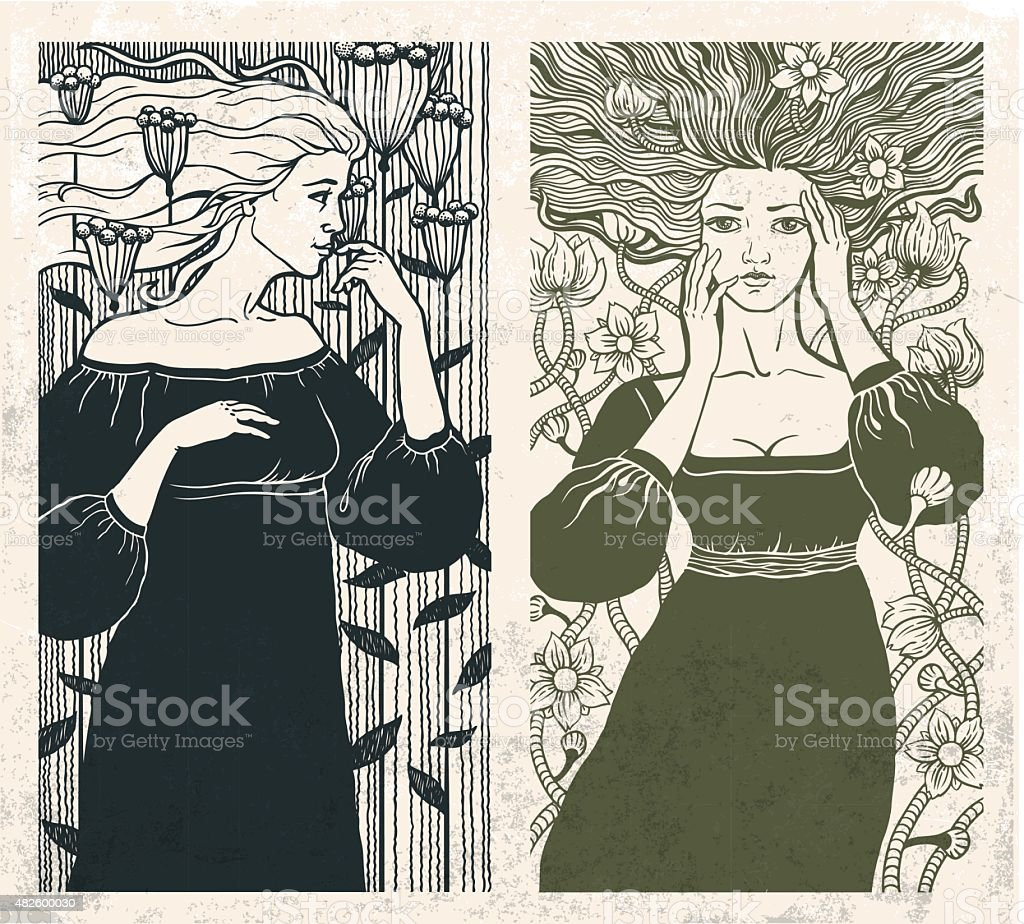 Art Nouveau women vector art illustration