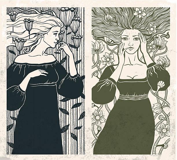 Art Nouveau women vector art illustration