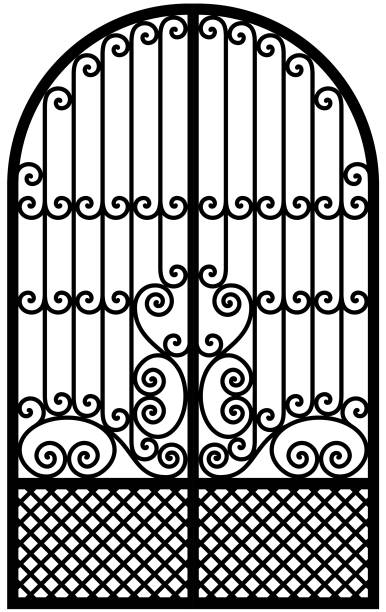 Art Nouveau Wrought Iron Gate Black and white arched wrought iron door. Vector drawing. gate stock illustrations