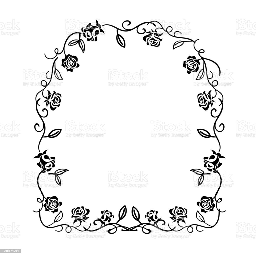 Art nouveau-like circular lease drawn with roses (black and white) | ornaments, decorative rulers | vector data