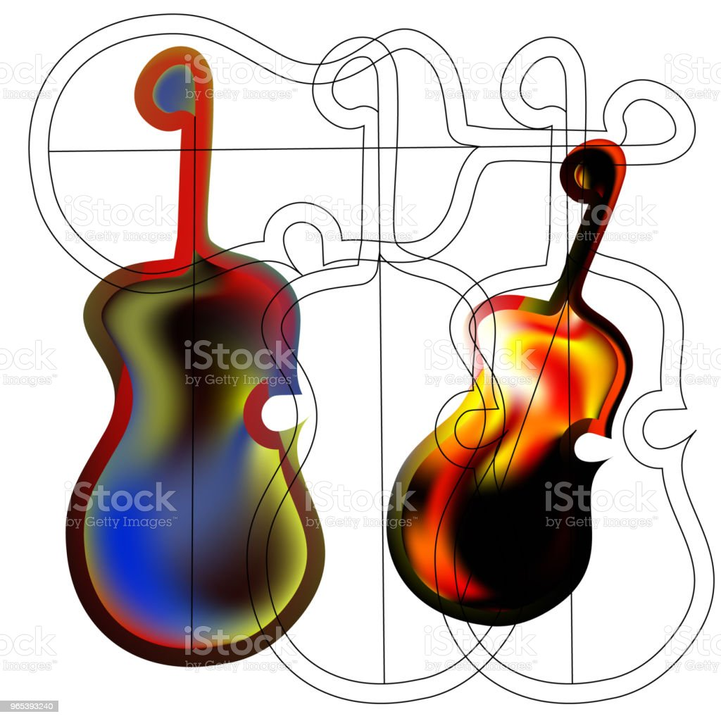 Art object stylized image of the guitar in the Gothic style. royalty-free art object stylized image of the guitar in the gothic style stock illustration - download image now