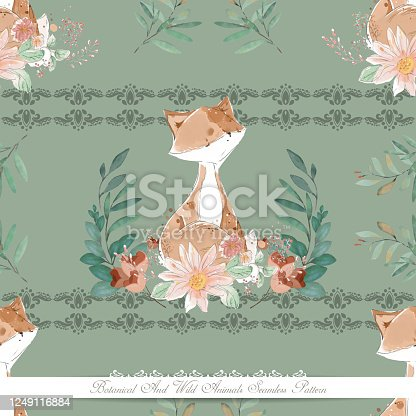 Art of botanical and wild animal in watercolor style wallpaper image in seamless pattern