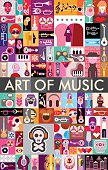 Vector collage of various images with a musical theme featuring the Art of Music text.