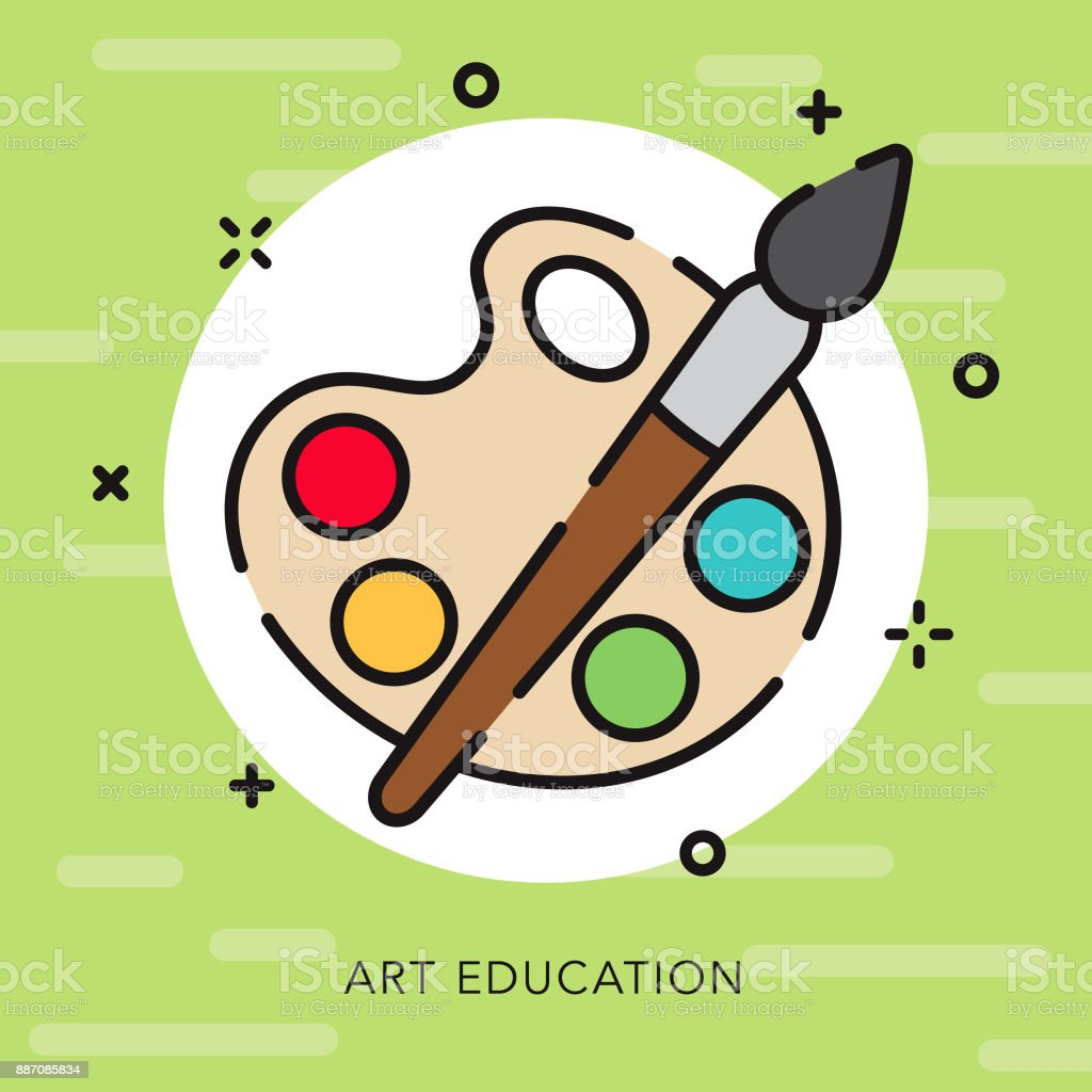 Art Open Outline Education Icon vector art illustration