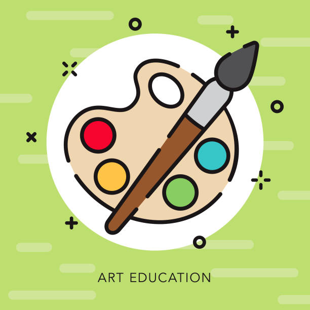 art open outline education icon - art class stock illustrations, clip art, cartoons, & icons