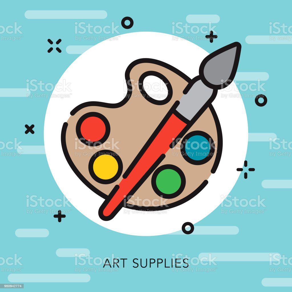 Art Open Outline School Supplies Icon vector art illustration