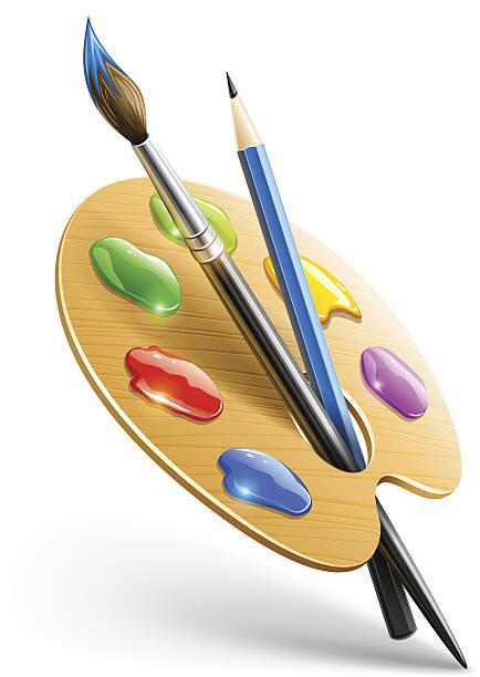 sztuki palety z farby, pędzel i ołówek narzędzia do rysowania - wood texture stock illustrations