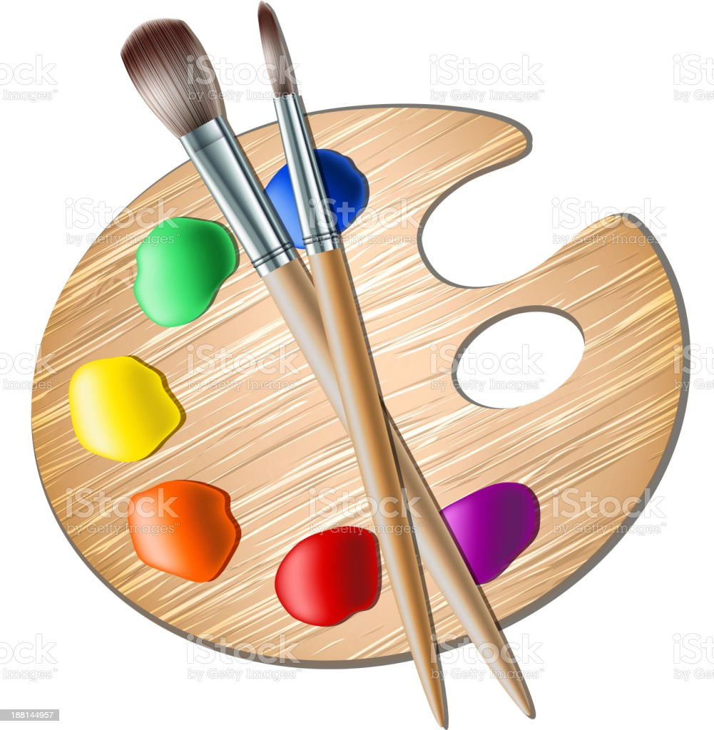 Art palette with paint brush for drawing royalty-free stock vector art