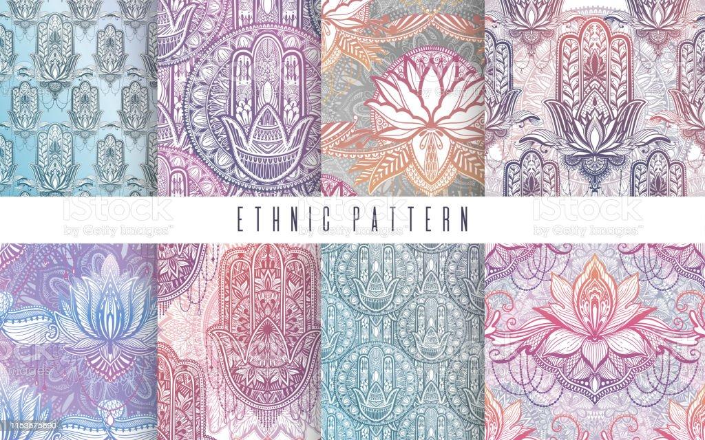 Art pattern set lotus flower mandala. Ethnic abstract print. Colorful...