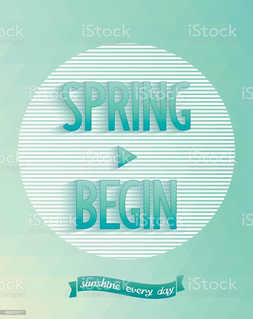 Art poster - spring started royalty-free stock vector art