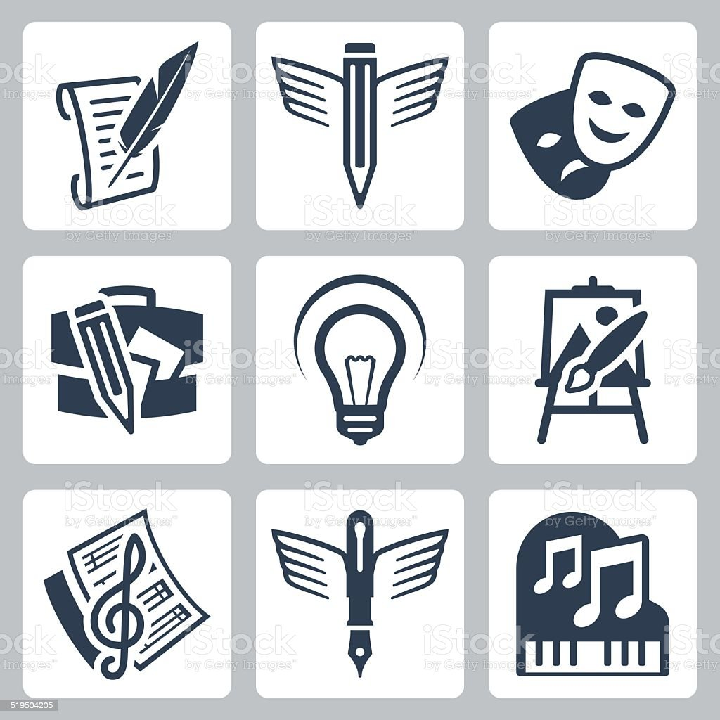 Art related vector icons set vector art illustration