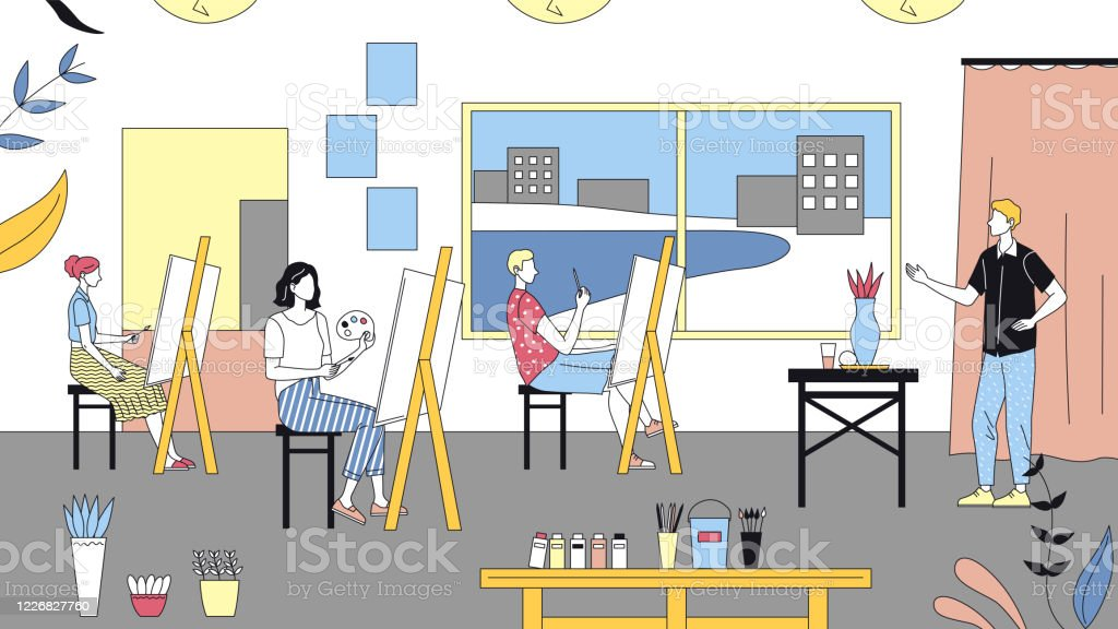 Art School Concept, Human Creativity And Talents. People Studying To Paint Pictures At Art School. Teacher Teaches Artists To Paint On Easels. Cartoon Linear Outline Flat Style. Vector Illustration Art School Concept, Human Creativity And Talents. People Studying To Paint Pictures At Art School. Teacher Teaches Artists To Paint On Easels. Cartoon Linear Outline Flat Style. Vector Illustration. Adult stock vector