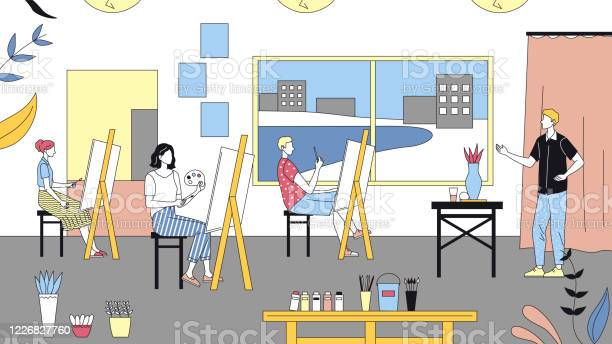 Art School Concept Human Creativity And Talents People Studying To Paint Pictures At Art School Teacher Teaches Artists To Paint On Easels Cartoon Linear Outline Flat Style Vector Illustration Stock Illustration - Download Image Now