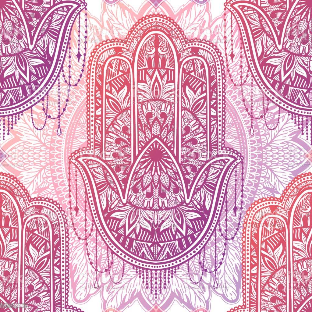 Art seamless pattern hamsa mandala. Ethnic abstract print. Colorful...