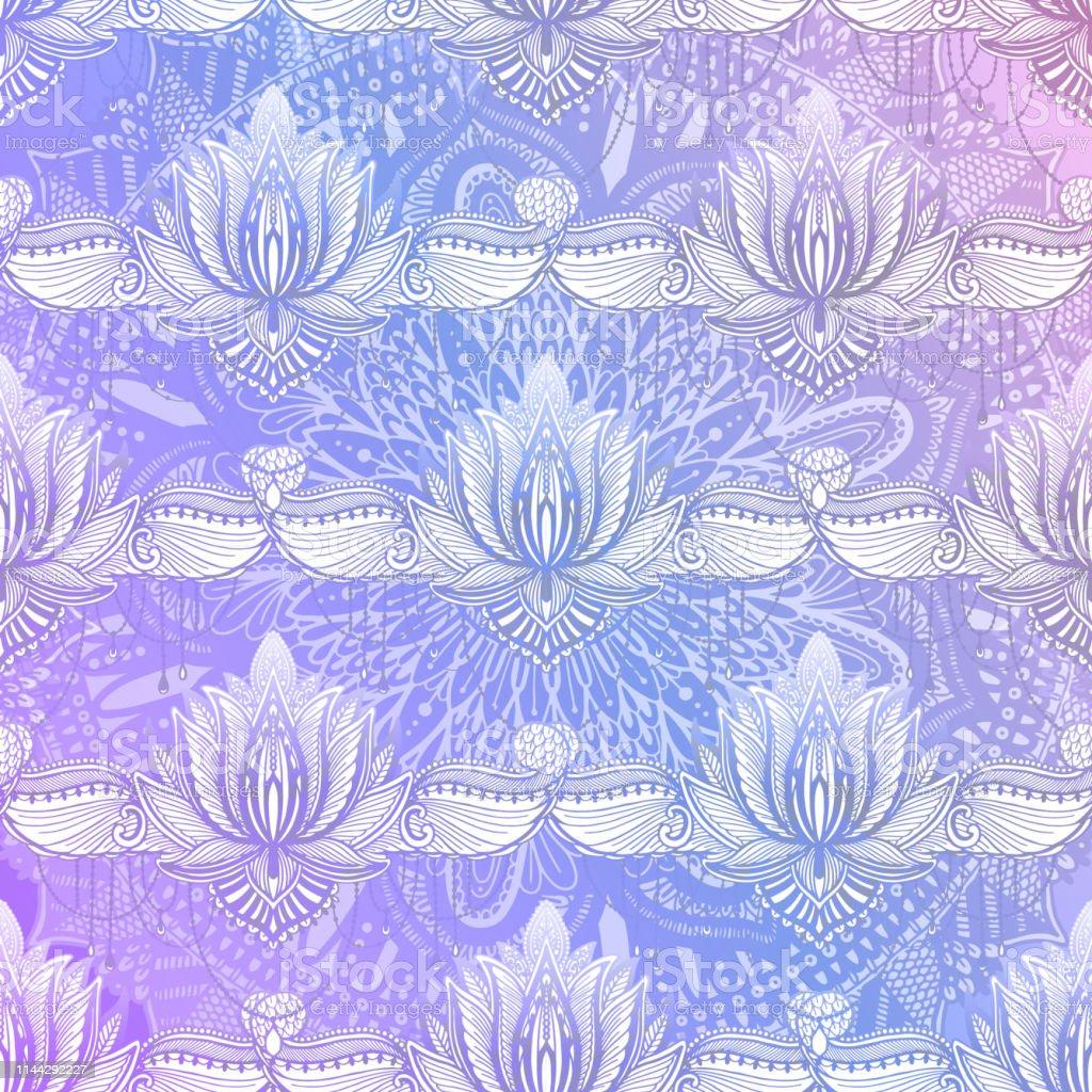 Art seamless pattern lotus flower mandala. Ethnic abstract print....