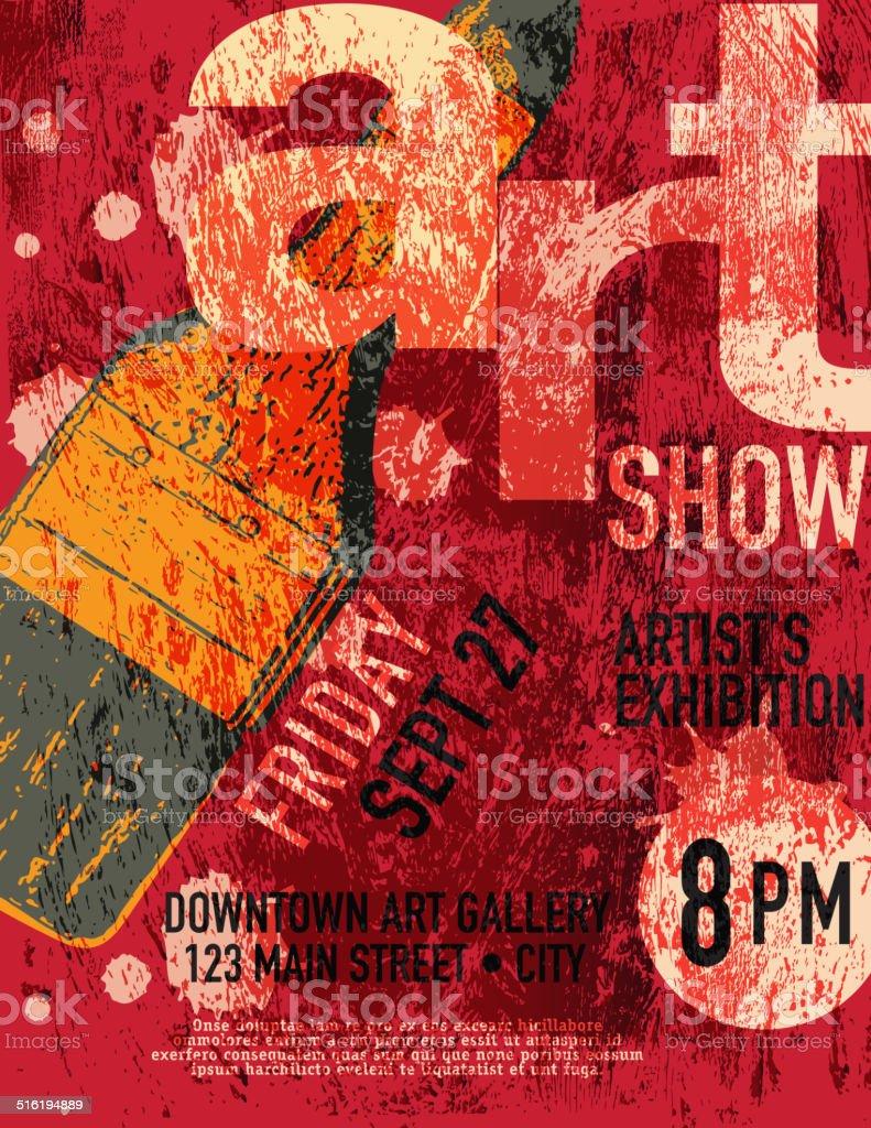 Art show poster design template vector art illustration