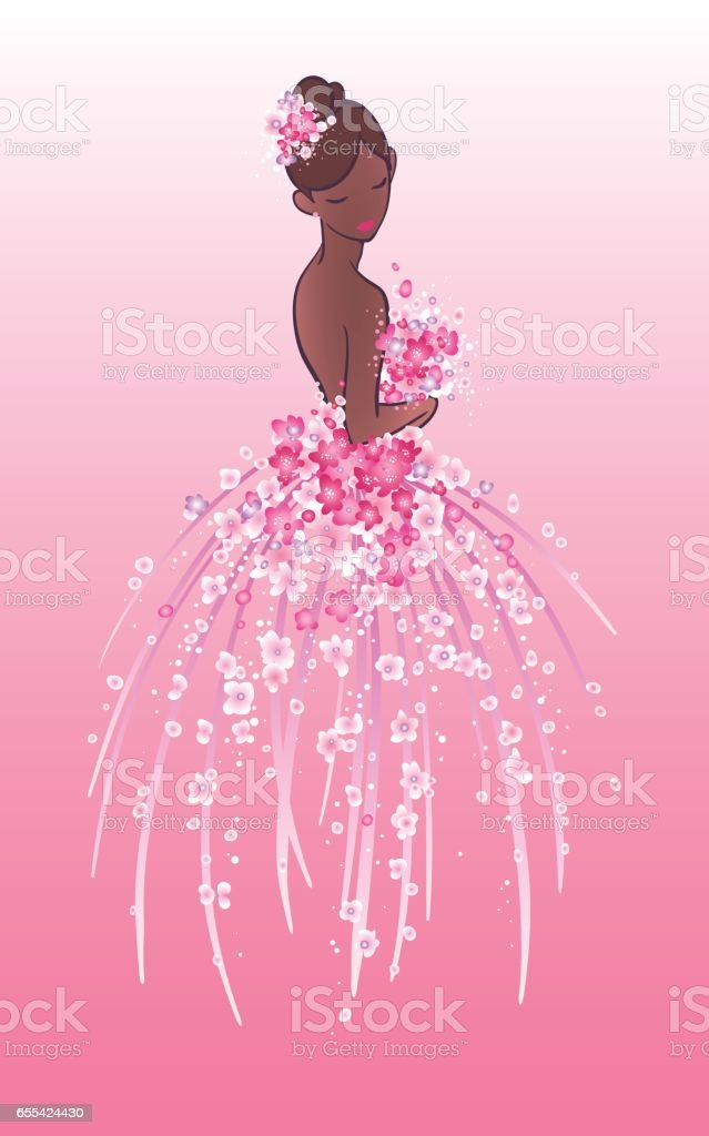 Art sketch of bride with pink flowers. vector art illustration