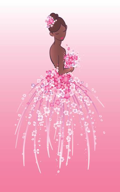 Art sketch of bride with pink flowers. Art sketching of beautiful young bride with pink flowers. Vector illustration of pretty african american girl in ball gown on gradient background. wedding dress stock illustrations