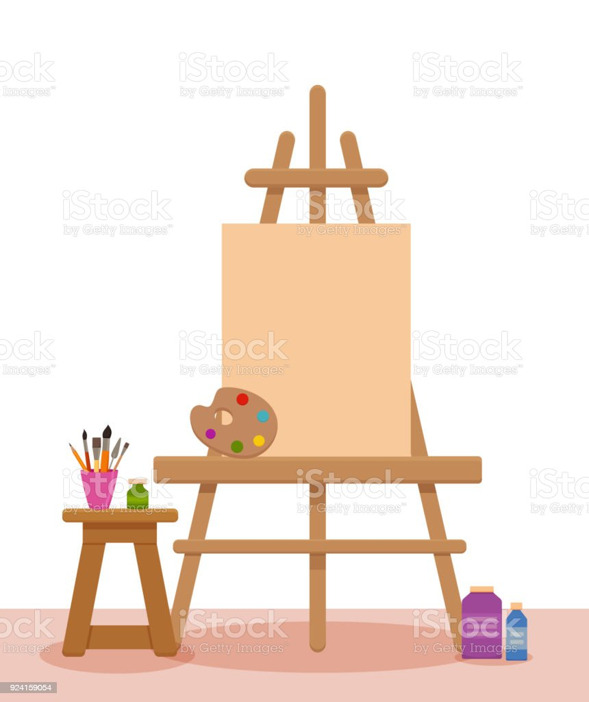 Art Studio Interior Colorful Vector Illustration Painter Artist ...