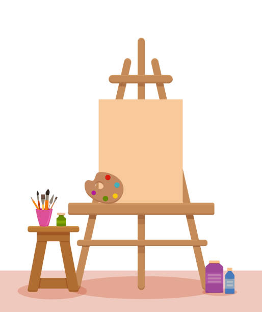 Art studio interior colorful vector illustration. Painter artist workshop room with tools: canvas, easel, paints, palette, brushes,  pencils, vector art illustration