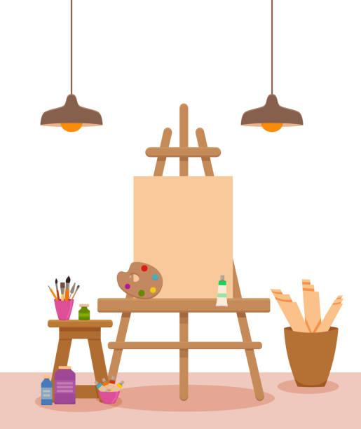 kunst atelier innen bunten vektor-illustration - hausfarbpaletten stock-grafiken, -clipart, -cartoons und -symbole