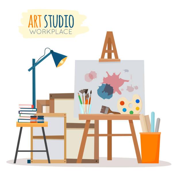 kunst atelier interieur. - hausfarbpaletten stock-grafiken, -clipart, -cartoons und -symbole