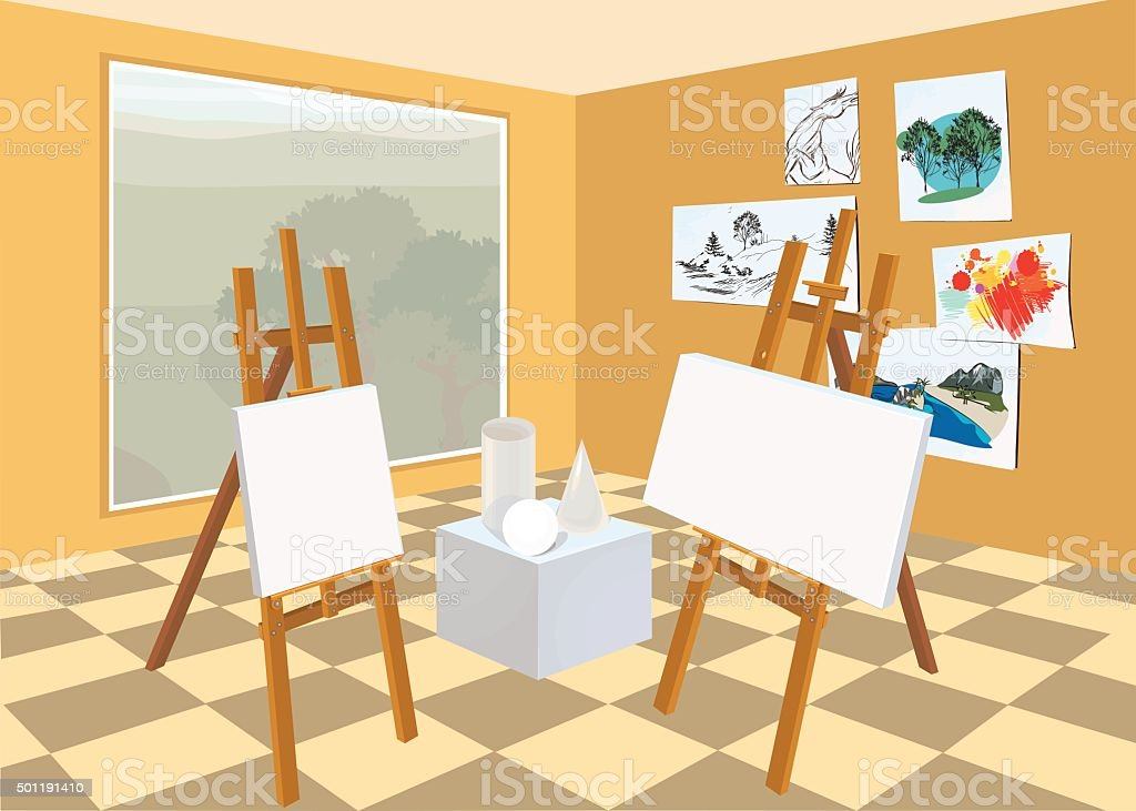 Art studio interior vector art illustration