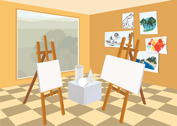 Estudio de arte interior - ilustración de arte vectorial