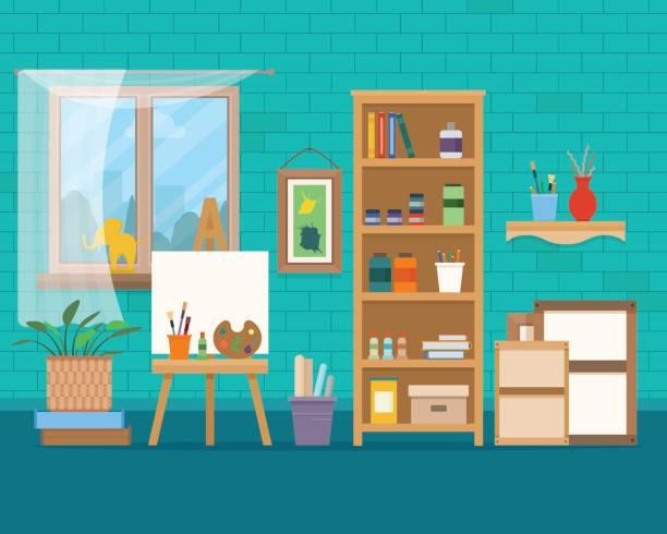 art studio interior. - artsy backgrounds stock illustrations