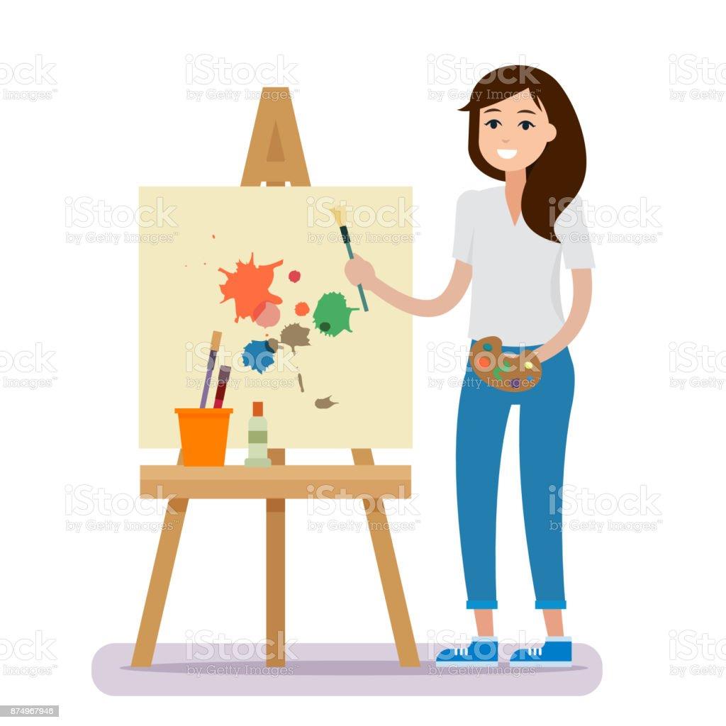 Intérieur de studio d'art. Femme artiste de dessin. - Illustration vectorielle