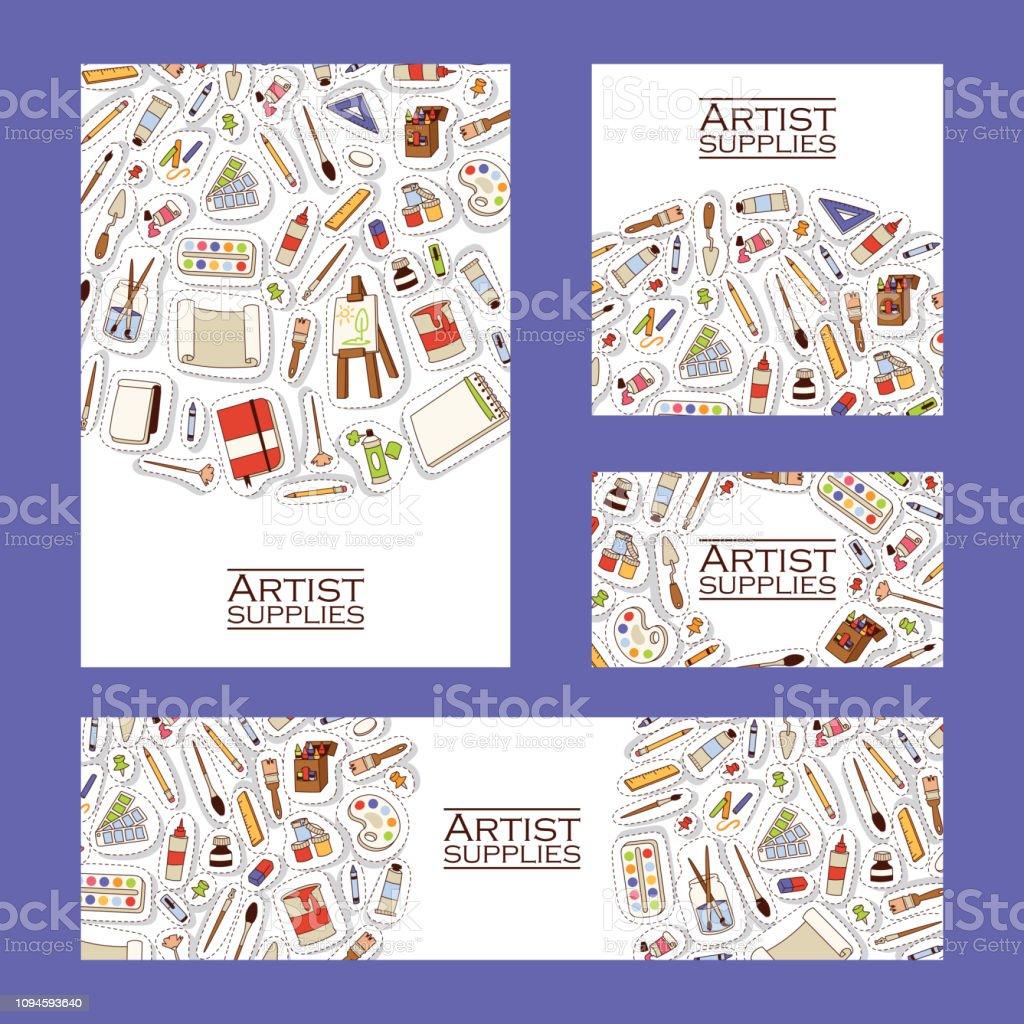 Art studio pattern vector studying in art-school with artist tools...