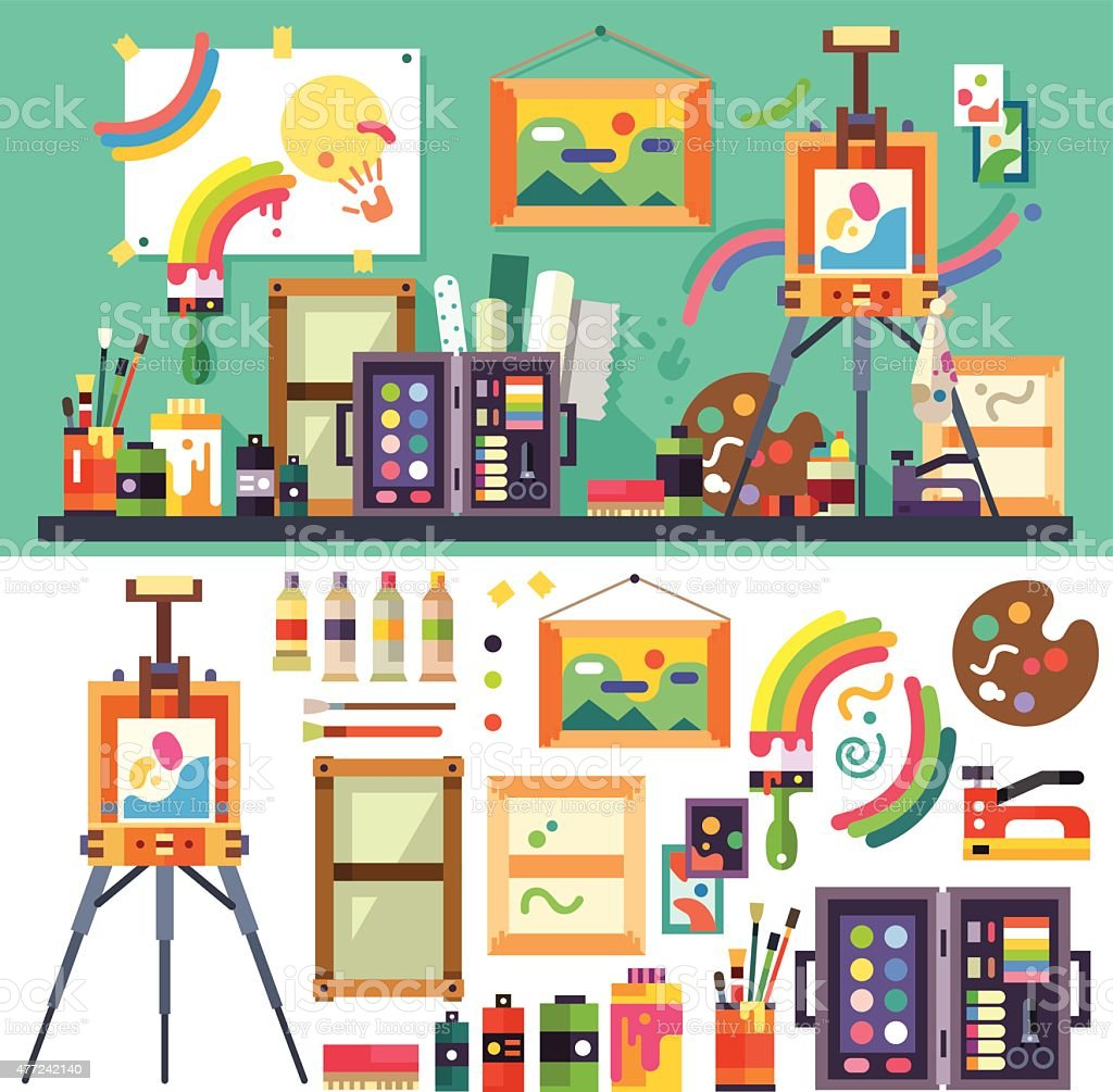 Art studio, tools for creativity and design vector art illustration