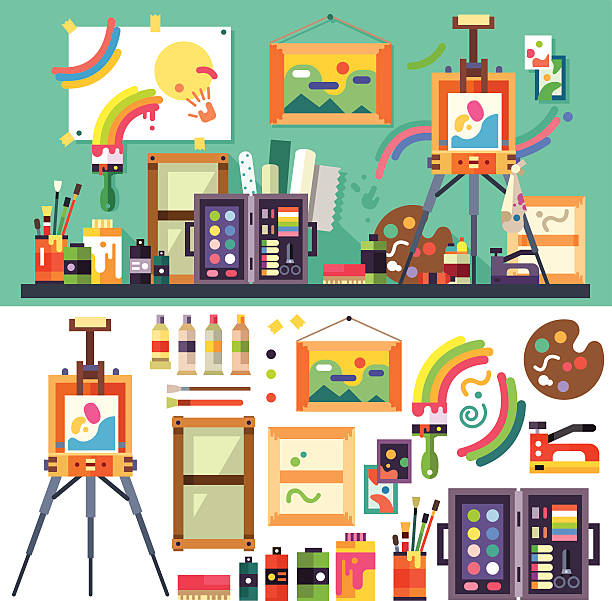 Art studio, tools for creativity and design Art studio interior with all tools and materials for painting and creature.  The source of inspiration for the artist. Preparations for exhibition, paint, pictures, brushes, easel. Vector flat illustration house painter stock illustrations