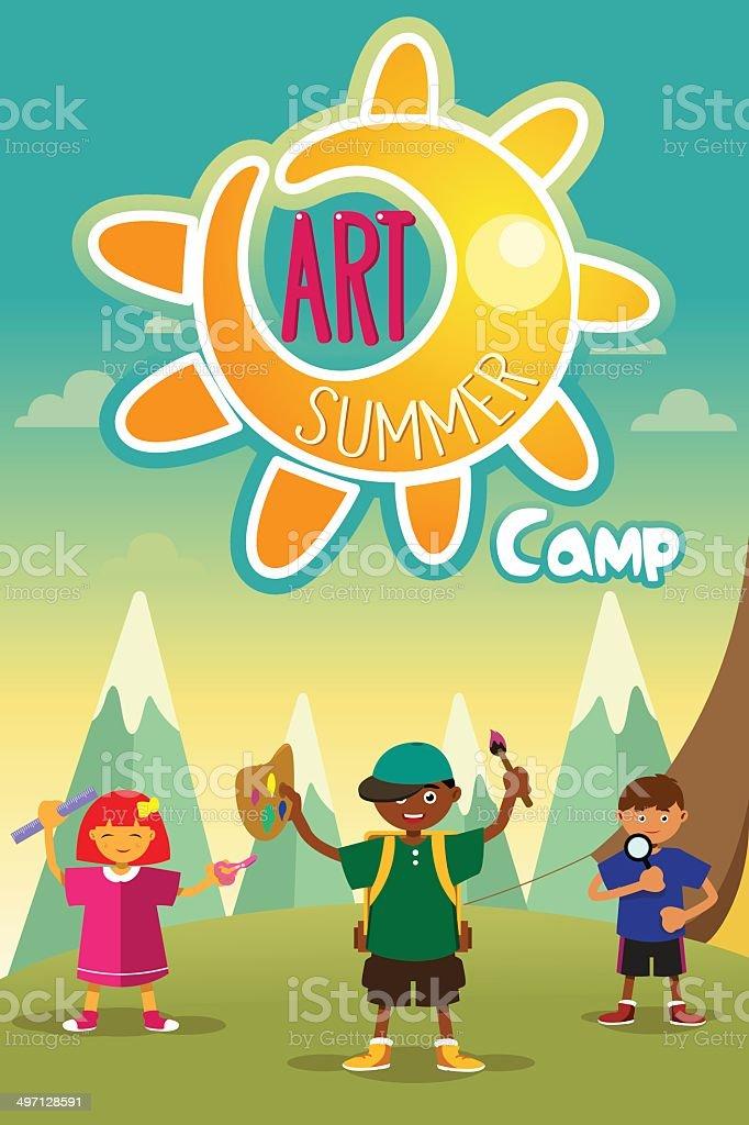 Art summer camp poster vector art illustration