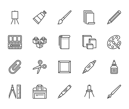 Art supplies flat line icons set. Oil paints, watercolor, drawing paper, sketchbook, pallette, stationery vector illustrations. Thin signs for artistic store. Pixel perfect 64x64. Editable Strokes