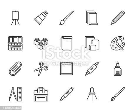 Art supplies flat line icons set. Oil paints, watercolor, drawing paper, sketchbook, pallette, stationery vector illustrations. Thin signs for artistic store. Pixel perfect 64x64. Editable Strokes.