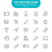 Creative Occupation, Paintbrush, Artistic store, Palette, USA, Editable Icon Set