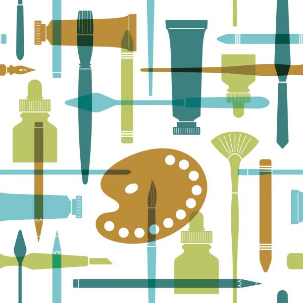 art supplies seamless pattern in flat style. - artsy backgrounds stock illustrations