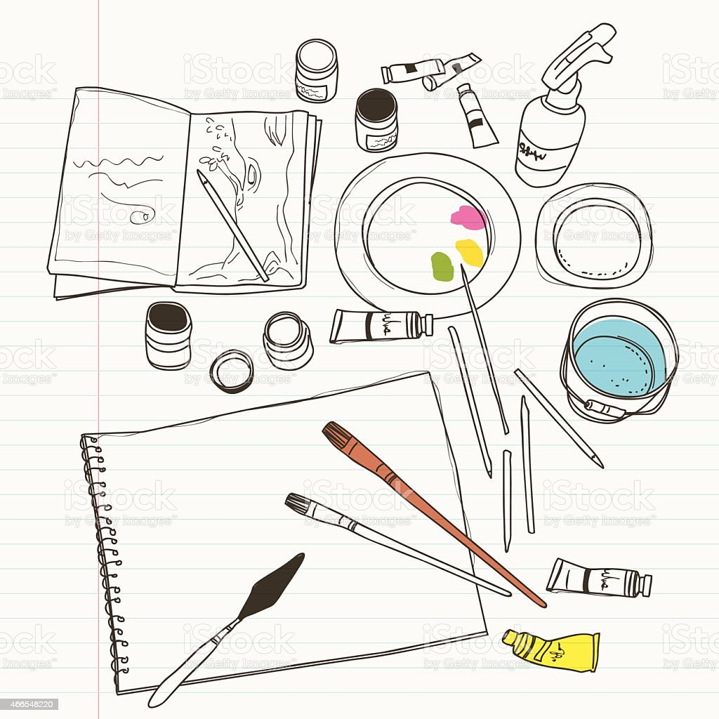 art supplies vector art illustration