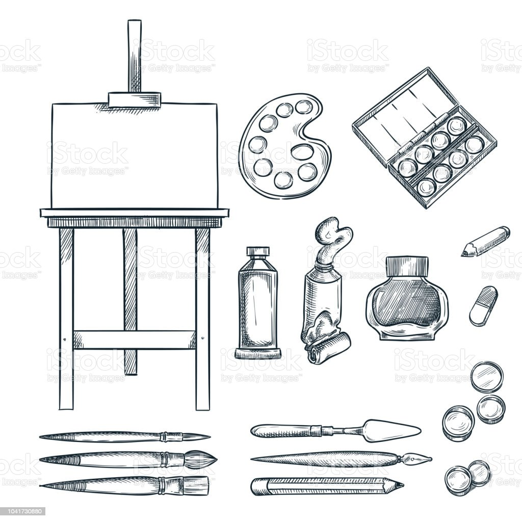Art Supplies Vector Sketch Illustration Drawing Painting
