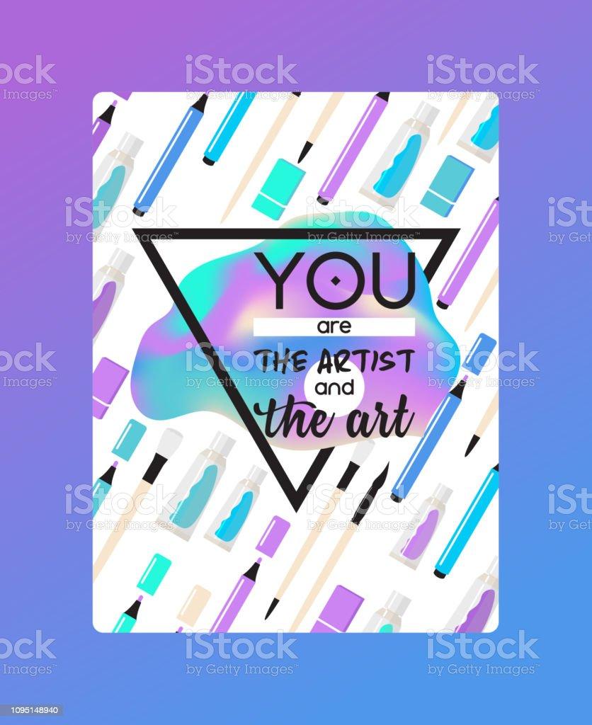 Art supplies vector studying in art-school with artist tools...